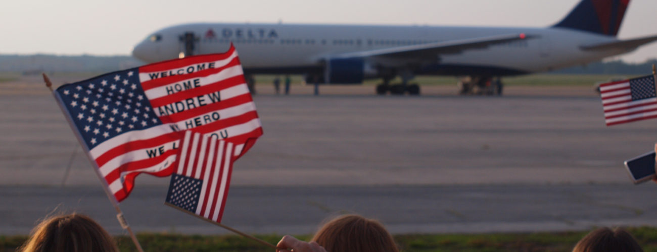 Plane landing on an air field at Ft. Campbell - Welcome home troops!